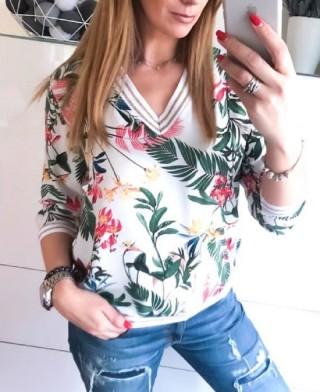 Bluzka V-NECK print kwiatowy